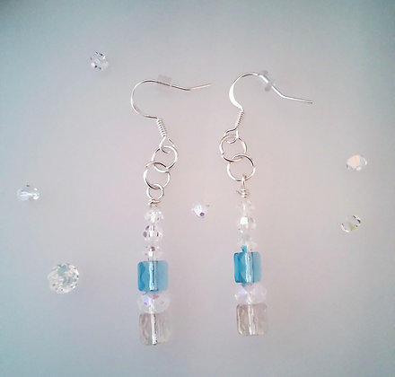 Swarovski Snow Blue Dangle Earrings  SWB001