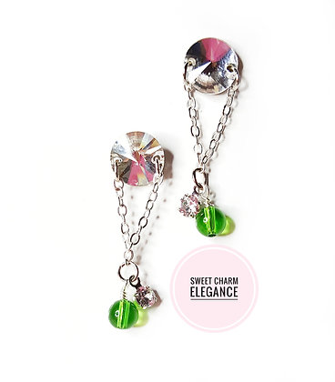 Green Orb Sparkle stud earring