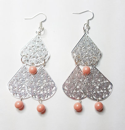 Swarovski© Pink Coral Filigree earring