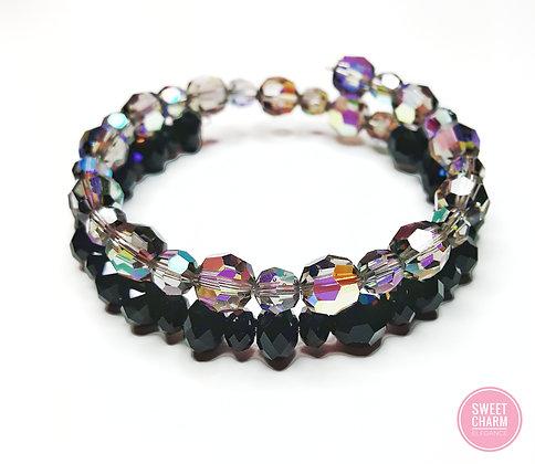 Black & Grey Swarovski© wrap bracelet
