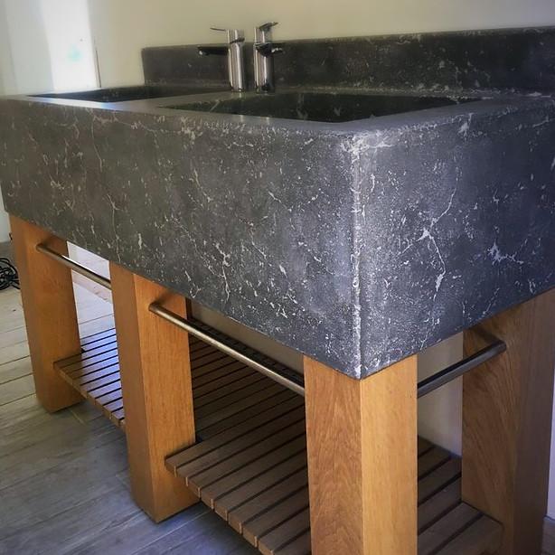 Bespoke Double Concrete Handpressed Sink on an Oak Base