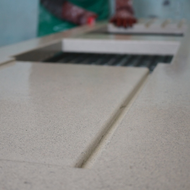 Handpressed Silver Grey Concrete Worktop