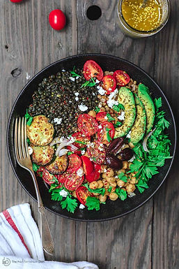 Mediterranean Grain, Lentils and Chickpeas Salad