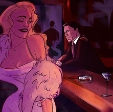 """Catching Glances. Inspired the time I went to a restaurant with my friend.  We set at the bar right in front of the cute pair of guys. But i was too shy to talk to them so when i came back home decided to illustrate """"what if"""" senario."""
