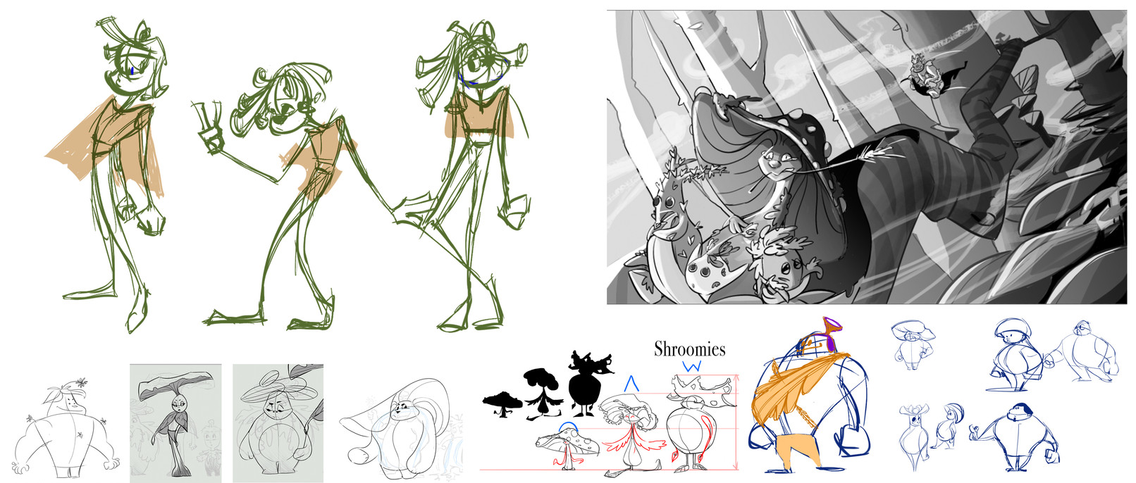 Additonal early sketches of main characters