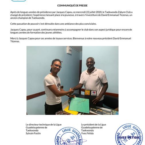 CHANGEMENT DE PRESIDENCE POUR LES ZABYM TAEKWONDO CLUB