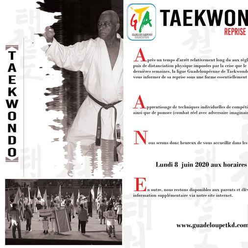 REPRISE DES COURS TAEKWONDO