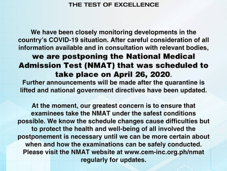 APRIL 2020 NMAT Postponed Indefinitely