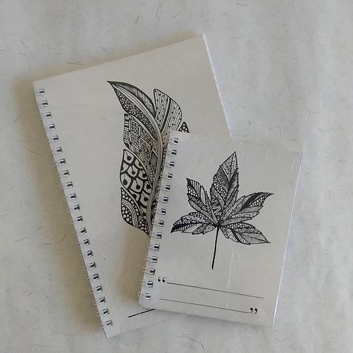 Leaf Print Notebooks (Set of 2)