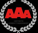 AAA betyr at vi er blant de 2,5 % av bedriftene i Norge med den beste kredittverdigheten - kåret av Dun & Bradstreet  Karakteren gis til foretak som har vist stabilitet over tid, med en evne til å klare både høy- og lavkonjunktur. Dette er et signal til våre kunder og samarbeidspartnere at vi er en trygg, ryddig og solid partner å jobbe med.