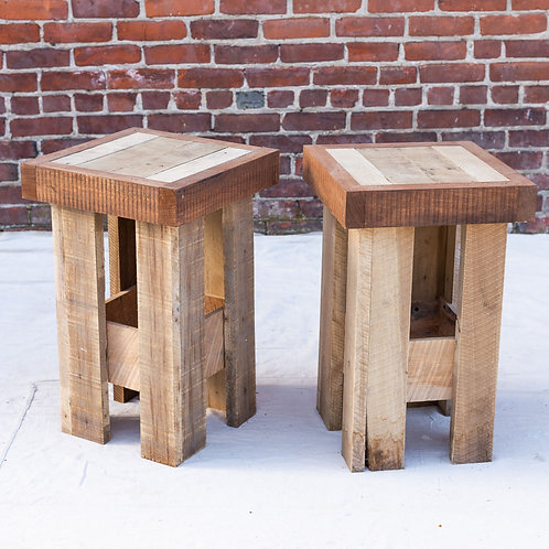 Reclaimed Wood End Table Set of 2