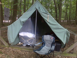 canvas tent with mosquito net (hanging).