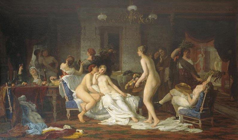 «Девичник в бане» Ф. Журавлёв, 1885 г.