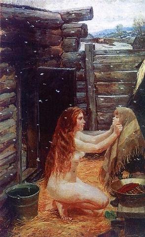 «Весна. В бане.» А. Пластов, 1954