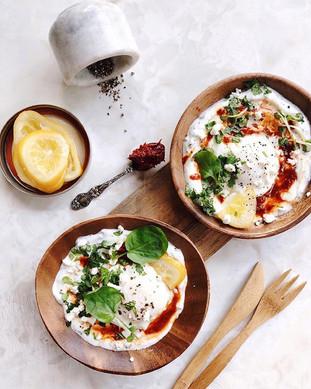My take on Turkish eggs. Minty dill yogu