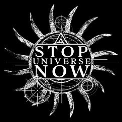 STOP UNIVERSE NOW - LOGO - WHITE ON BLAC