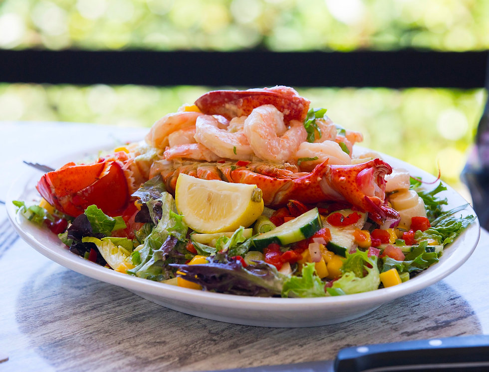 This is a closeup view of Janet's Seafood Salad.