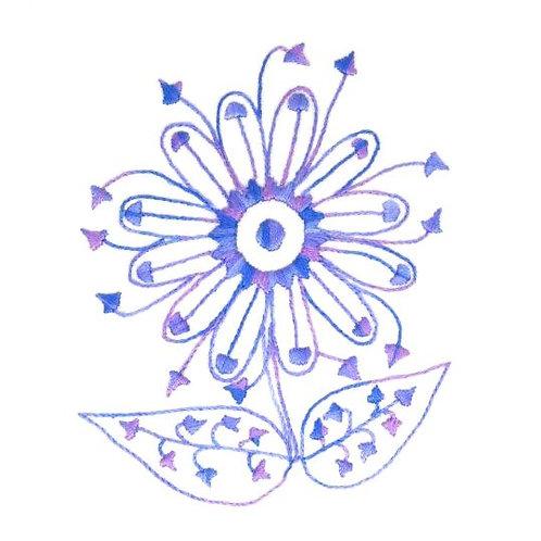 Blue Daisy - Satin Stitch and Stem Stitch
