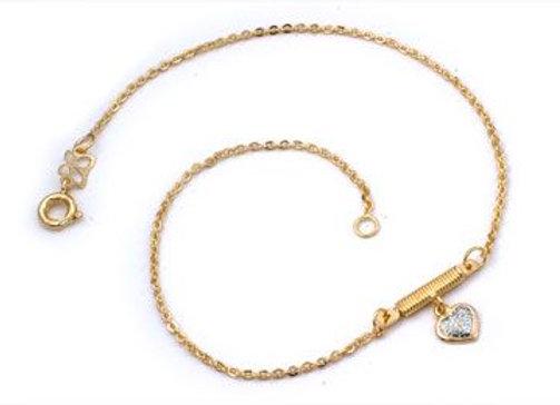 Tornozeleira formada por fio cadeado batido 040 composta por coração