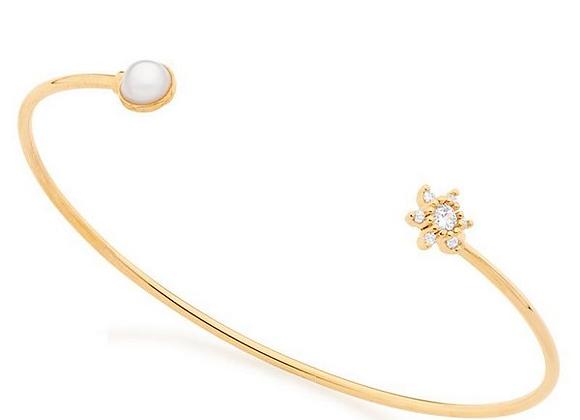 Bracelete Aberto Flor Zircônia Rommanel