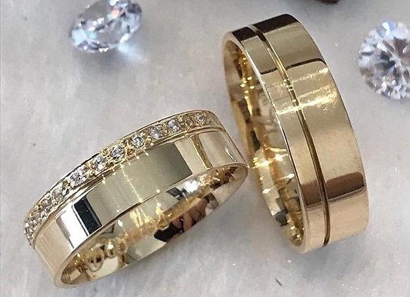 Aliança Lisa Quadrada Com Fio e Pedras Ouro 18k