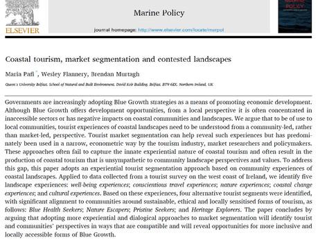 NEW PAPER: Coastal tourism, market segmentation and contested landscapes