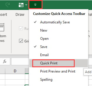Click on the drop-down list of the Quick Access Toolbar