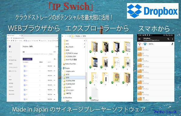個人ユースからビジネスまで幅広いユーザーの多いdropbox、デジタルサイネージでも活躍、簡単操作が売りです。IP_Swithも対応