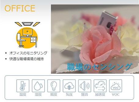 オフィス、職場のための環境センサー、12種類のデーターを測定、リアルタイムに表示できます。屋内設置なので簡単にできます。
