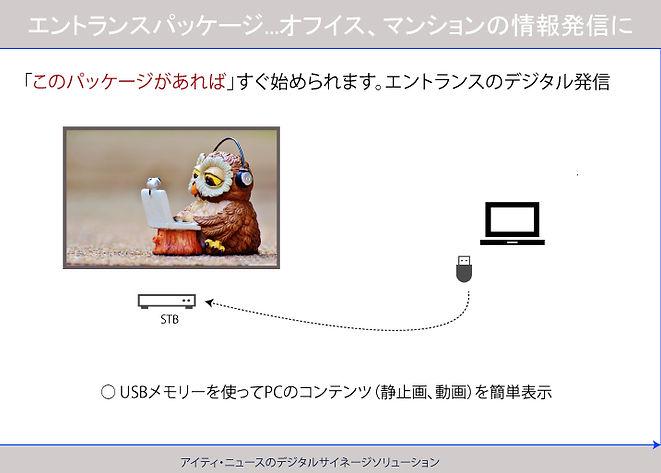オフィス、マンションのエントランス用デジタルサイネージ、USB利用で簡単にスタートできます。