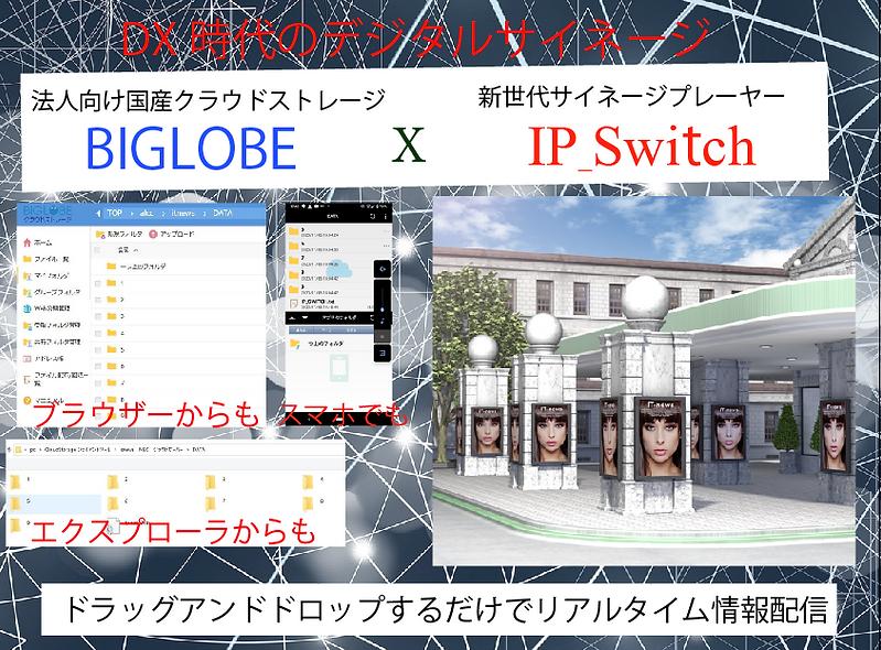 DX時代のデジタルサイネージプレーヤー、BIGLOBEでも活用できます。