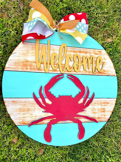 Crab Welcome Shiplap Back