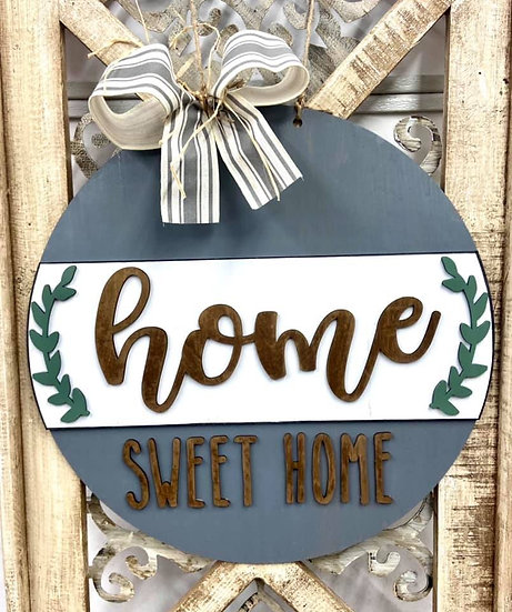 Home Sweet Home Leaf Circle Painted