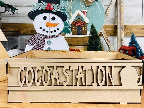 Wooden box says cocoa station