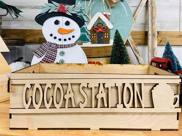 Wooden box that says cocoa station