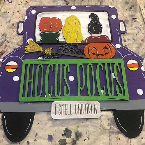 hocus pocus movie themed doorhanger made from wood