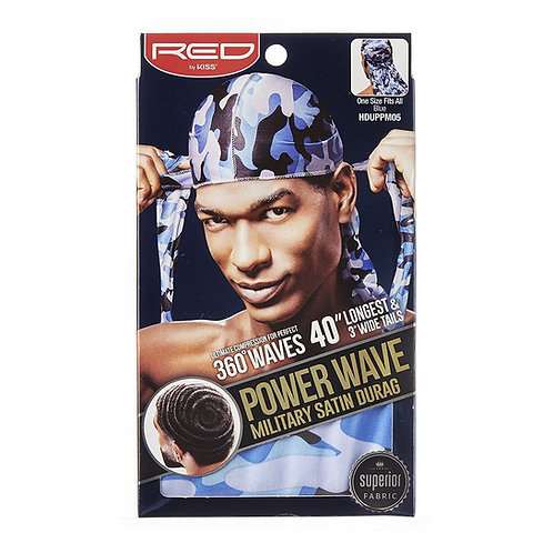 RED BY KISS Power Wave Military Satin Durag - Blue