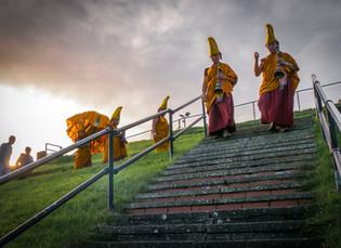 Tibetan monks at the seaside