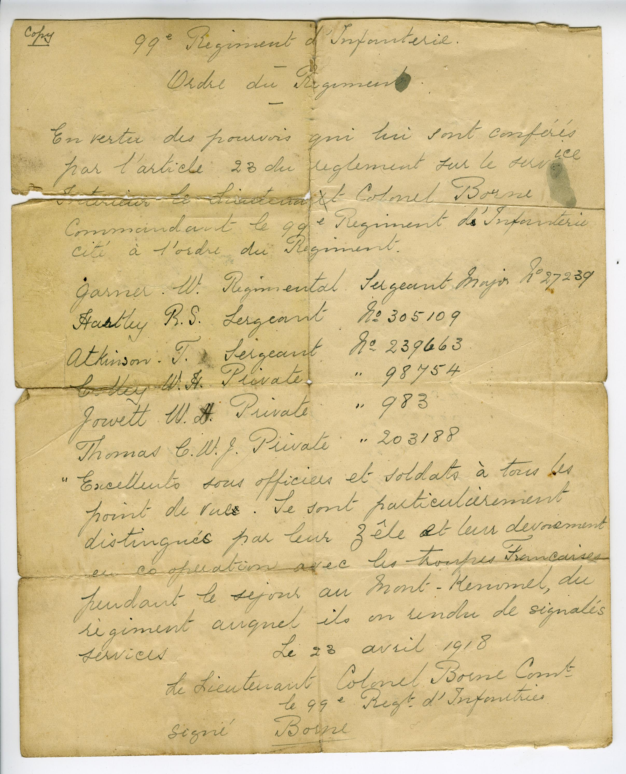 Letter awarding WHJ the Croix de Gue