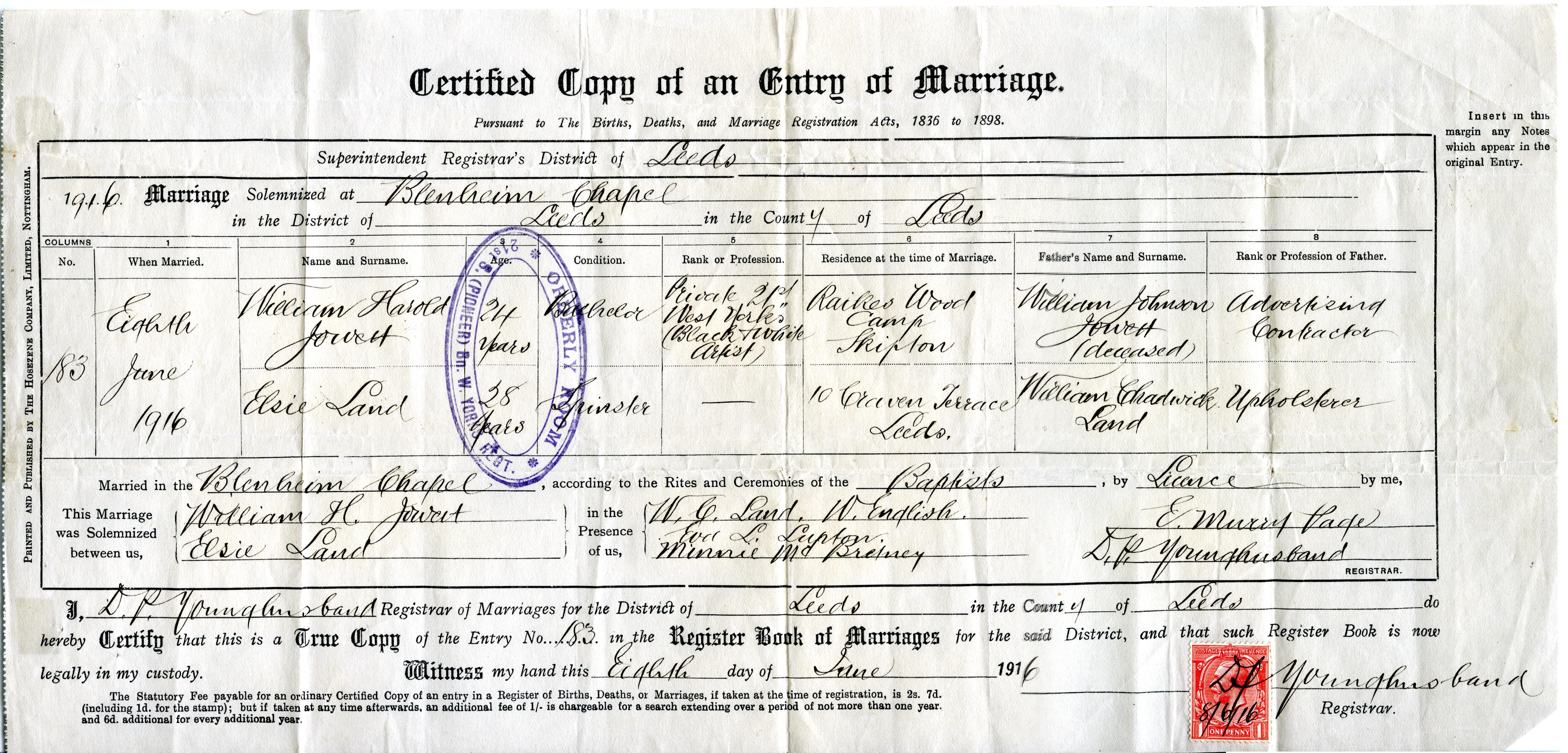 William Harold marries Elsie Land