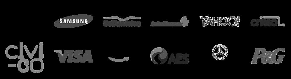 Accenture, Samsung, SulAmerica, AstraZeneca, Yahoo, Criteo, Civi-Co, Visa, Amazon, AES, Mercedes Benz, P&G