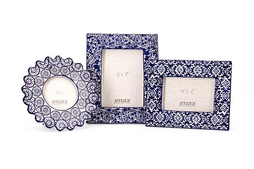Lucenda Blue and White Ceramic Frame