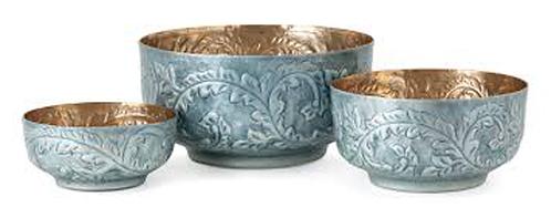 Austina Blue Enamel Bowls Set Of 3
