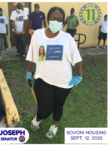 Carla Joseph at the neighborhood clean up in Bovoni housing