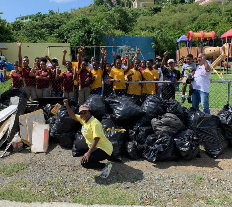 Carla Joseph with I.E.K.H.S JROTC & STT District Democratic Party Members after Neighborhood Clean-up in Smith Bay