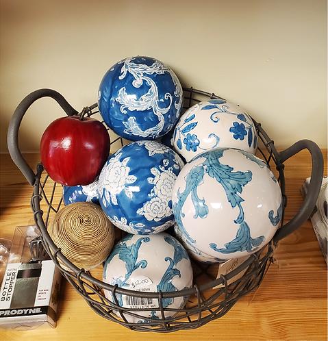 Indigo Painted Orbs Decor Ball(each)