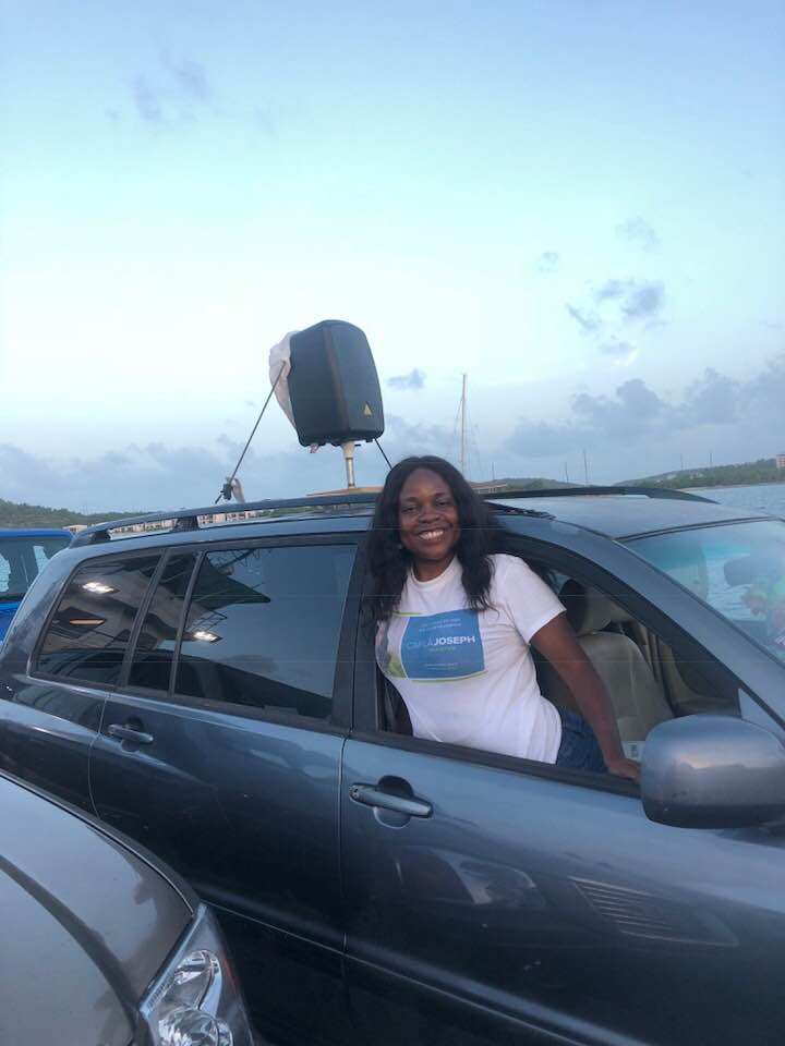 Carla Joseph return on the barge after campaigning in St. John
