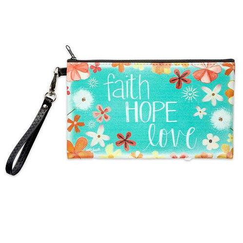 FAITH HOPE LOVE  ZIPPERED BAG