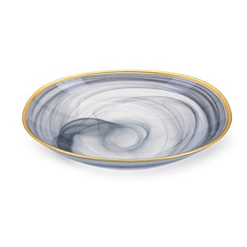 """Yazel Glass Bowl 3""""h x 12.5""""w x 8.5""""d"""