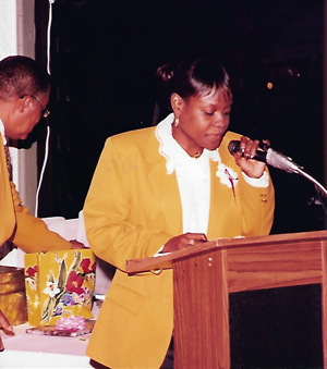 Carla Joseph with Former Senator George E. Goodwin in the background